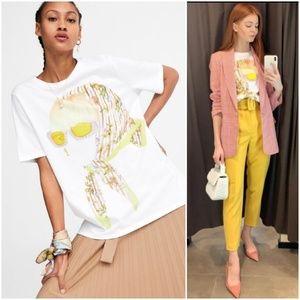 Zara graphic T shirt, yellow sunglasses head scarf